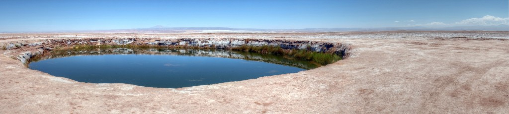 Ojos de Salar are two tiny ponds in the middle of the desert.